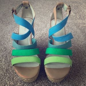 Nine West multi color wedge heel sandals